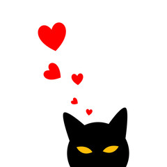 Valentine's Day Poster of Holiday Card with Cat and Hearts. Vector Illustration.