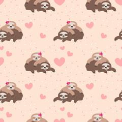 Cute couple sloth seamless pattern.