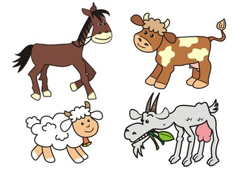 Group of farm animals, horse, cow, sheep and goat, funny cute vector illustration