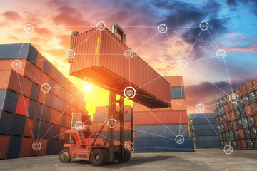 Wall Mural - Business Logistics concept global partner connection of Container Cargo freight ship for Logistic Import Export background,