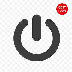 Power button icon. Vector icon start. Isolated symbol start work. Start button in simple design. Flat style concept. For mobile application technic solution phone computer button business solution