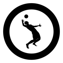 Volleyball player hits the ball with top silhouette side view Attack ball icon black color illustration in circle round