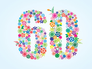 Vector Colorful Floral 60 Number Design isolated on white background. Floral Number Sixty Vector Typeface.