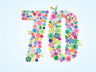 Vector Colorful Floral 70 Number Design isolated on white background. Floral Number Seventy Vector Typeface.