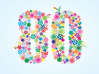 Vector Colorful Floral 80 Number Design isolated on white background. Floral Number Eighty Vector Typeface.