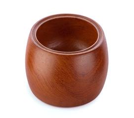 empty wood bowl on white background