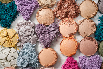 Texture fo broken colorful eyeshadow, blush or powder