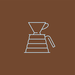 Coffee icon and linear coffeeshop badge in outline style with trendy thin line emblem for cafe sign, coffee house, the symbol for the app.