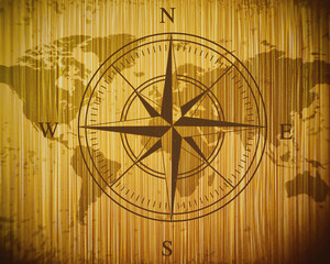 Nautical map on a wooden background, map of the world