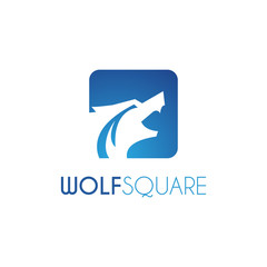 Vector Wolf Square Logo design template. Blue color.