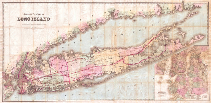 Old Map of Long Island, 1880, Colton