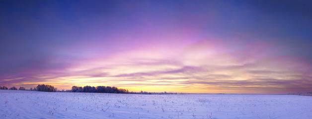 winter landscape panorama with sunrise