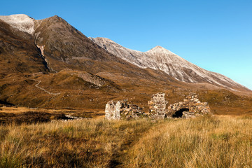 Ruin in Glen Torridon in Scottish Highlands