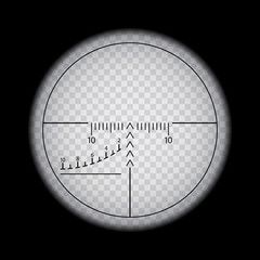 Optical sight on plain background, vector illustration of sniper sight