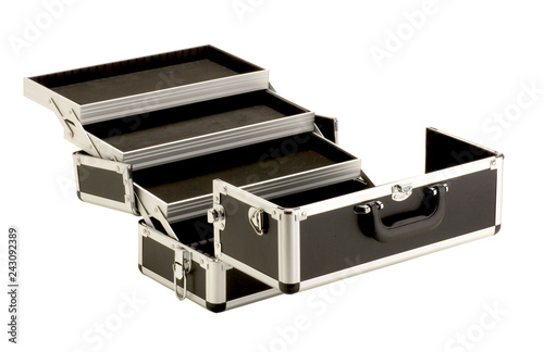 Open Black Box Of Makeup Artist Isolated On White Background Stock