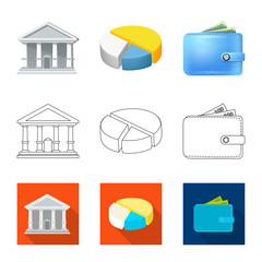 Vector design of bank and money logo. Set of bank and bill stock symbol for web.