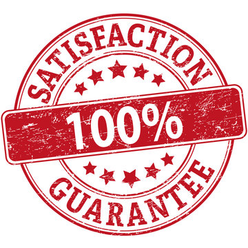 100% satisfaction guarantee red rubber web stamp with stars