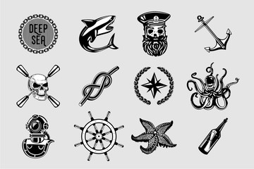 Nauitical icons set. Vintage marine signs collection with sailing elements. Sailor tattoo vector design.