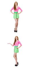 Beautiful woman in green skirt