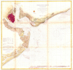 Fototapete - U.S.C.S. Map of Charleston Harbor, South Carolina, 1866