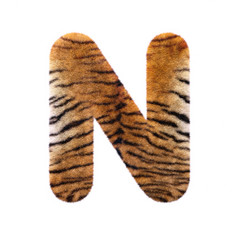 Tiger letter N - Capital 3d Feline fur font - suitable for Safari, Wildlife or big felines related subjects