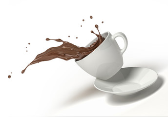 White cup with chocolate splash, jumping on a saucer. On white background.