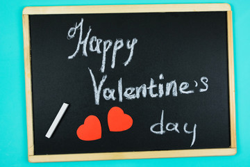 happy Valentine's day lettering on school Board