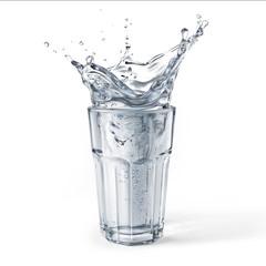 Foto auf Acrylglas Wasser Glass full of water with splash. Isolated on white background.