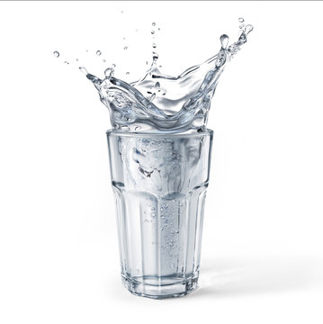 Glass full of water with splash. Isolated on white background.
