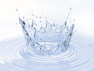 Water crown splash in a water pool on white.