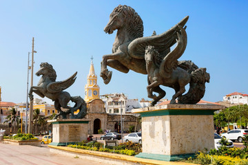 "Cartagena, Colombia, Statues Of Pegasus. Cartagena was awarded the title of ""the most charming city in Colombia"". There are a lot of architectural and historical monuments."
