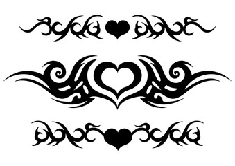 Tattoo tribal design, ornate celtic pattern with heart, tattoo strip around the arm or leg, abstract print, ornament sketch, vector illustration, black and white drawing, element for decorating body