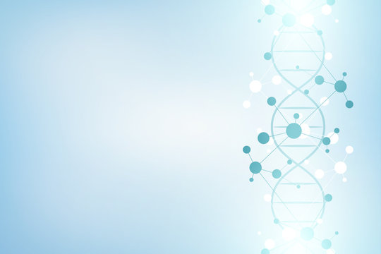 DNA strand and molecular structure. Genetic engineering or laboratory research. Background texture for medical or scientific and technological design. Vector illustration.
