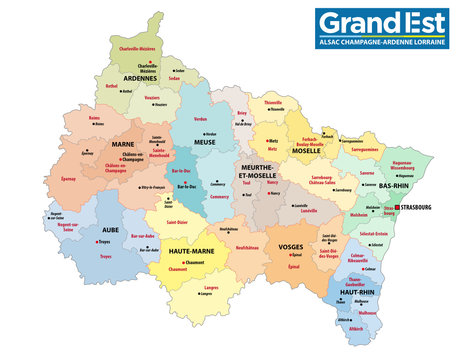 administrative map of the new french region grand est with logo