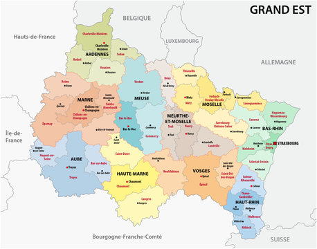 administrative map of the new french region grand est