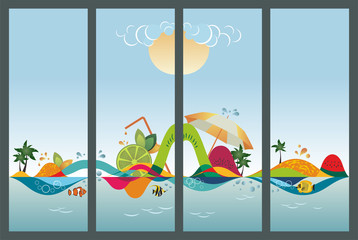 Set of travel banners, vector illustration