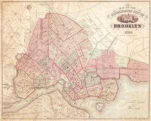 Fototapete - Map of Brooklyn, New York, 1866 McCloskey's