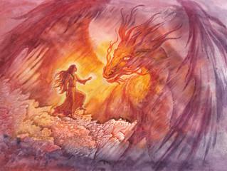 Сказочная иллюстрация с драконом, акварельная живопись, монотипия.