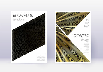 Triangle cover design template set. Gold abstract