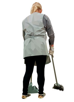 The cleaning lady in uniform becomes inventory, portrait of an isolated and a white background. Vector illustration in low-poly