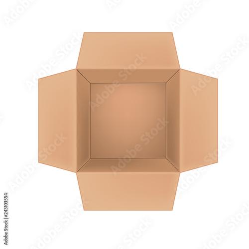 Open corrugated cardboard box on white background