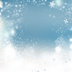 Christmas background vector winter illustration with crystallic snowflakes. New Year