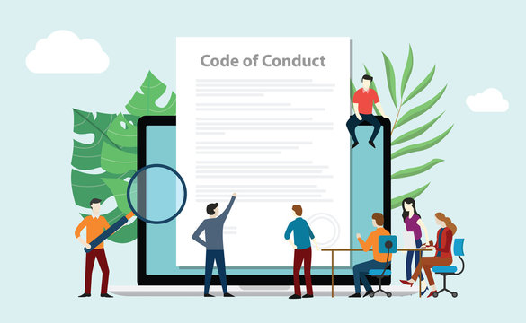 code of conduct team people work together on paper document on laptop screen - vector