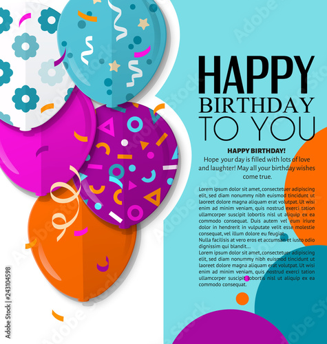 Happy Birthday Greeting Card With Patterned Balloons In Flat Style Confetti And Black Stripes On Background Vector Stock Image Royalty Free