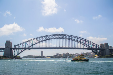 Fotorolgordijn Sydney Travel/visit Australia. Iconic Sydney skyline/landscape view of worldwide famous Opera house and Harbour Bridge. Most popular tourist attractions. Travel background concept. Bright summer colours.