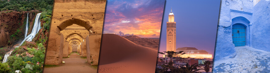 Morocco creative travel collage - Moroccan landmarks of Ouzoud Waterfalls (Cascades d'Ouzoud), Royal Stables in Meknes, desert Sahara, Hassan II Mosque in Casablanca and CHEFCHAOUEN blue city