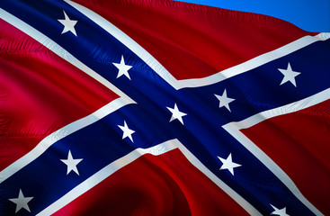 Confederate States of America flag. Historical national flag of the Confederate States of America. Known as Confederate Battle,Rebel, Southern Cross,Dixie flag. Patriotic symbol,banner. Flag of CSA