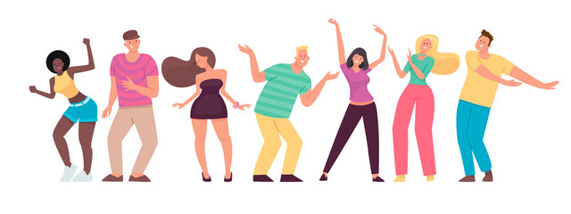 Happy people are dancing. Men and women move to the music. Set of cheerful energetic characters
