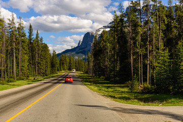 Road Trip in the Rocky Mountains. Beautiful scenic roadNational park, Alberta, Canada.