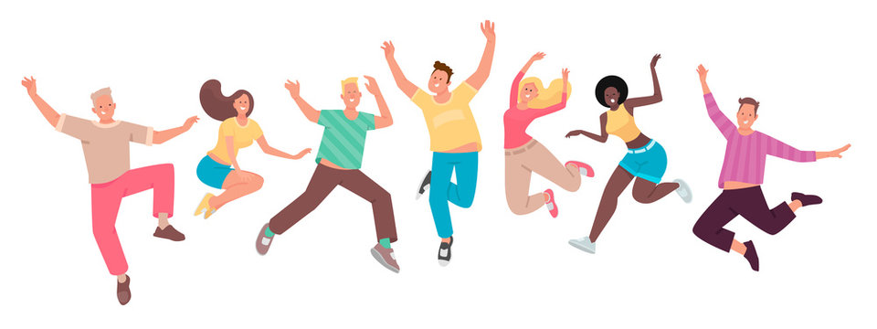 Happy people jump. A set of funny characters. Youth. The concept of happiness, joy and success